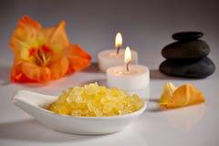 Spa. Bath salts and spa set Royalty Free Stock Photos