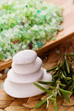 Spa bath salts and stone. rosemary Royalty Free Stock Image