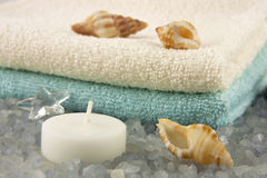Spa bath towels and candle Royalty Free Stock Photos