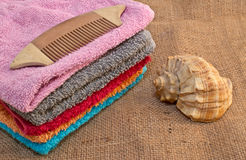 Spa bath towels and shell Stock Photography