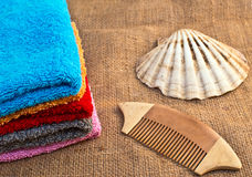 Spa bath towels and shell Stock Images