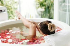 Spa bathing with flowers Royalty Free Stock Photo