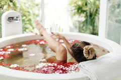 Spa bathing with flowers Royalty Free Stock Image