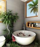 Spa bathroom. Interior design rendering of spa bathroom Royalty Free Stock Images