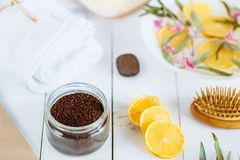 Spa and bathroom aromatherapy accessories. With lemon fruit royalty free stock photography