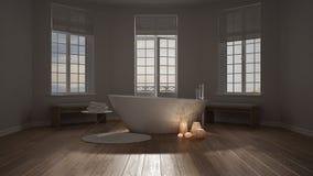 Spa bathroom, night relax, sunrise sunset scene, minimalist inte Stock Photo