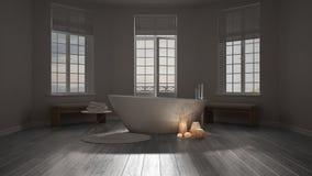 Spa bathroom, night relax, sunrise sunset scene, minimalist inte Royalty Free Stock Image