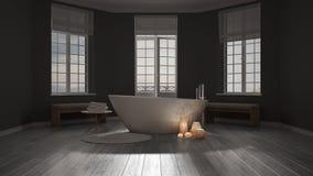 Spa bathroom, night relax, sunrise sunset scene, minimalist inte Stock Image