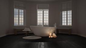 Spa bathroom, night relax, sunrise sunset scene, minimalist inte Royalty Free Stock Photo