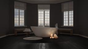 Spa bathroom, night relax, sunrise sunset scene, minimalist inte Stock Photography