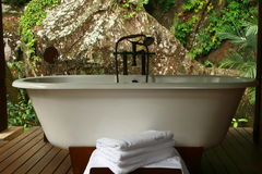 Spa bathtub Seychelles. Nature and spa architecture, designer bathtub for relaxation, luxury outdoor spa design Royalty Free Stock Photography