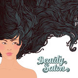 SPA-Beautiful Asian girl with a flowing hair. SPA salon -Beautiful Asian girl with a flowing long  hair Stock Image