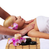 Spa. Beautiful Blonde Woman Getting Body Massage Royalty Free Stock Image