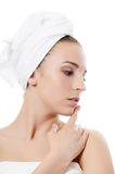 Spa beautiful woman Touches the face Stock Images