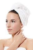Spa beautiful woman on white background.Touches the face Royalty Free Stock Image
