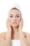 Spa beautiful woman.Touches the face Royalty Free Stock Image