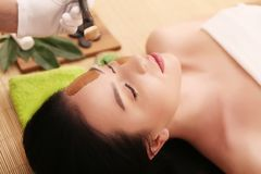 Spa. Beautiful Young Woman Getting a Face Treatment at Beauty Sa Royalty Free Stock Photography