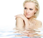 Spa beauty. Portrait of beautiful blonde model, spa theme Royalty Free Stock Image
