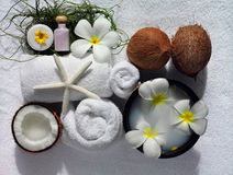 Spa beauty. Exotic tropical flowers sea shells  towels salt soap Stock Image