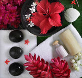 Spa beauty. Exotic tropical flowers sea shells stones towels salt soap on green leaves Royalty Free Stock Photos