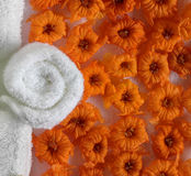 Spa beauty. Exotic tropical flowers  on white towels Stock Photography