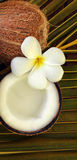 Spa beauty. Exotic tropical flowers coconuts on palm leaf Stock Photo