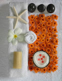 Spa beauty. Exotic tropical flowers starfish stones on white towels Stock Photos