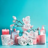 Spa beauty background with tools: cream, towels, serum, burning candles, lotion , standing on pastel blue table with white pink. Blossom flowers . Salon stock photos