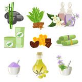 Spa beauty and body care vector icons Royalty Free Stock Photography