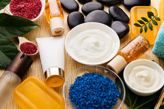 Spa Beauty Care Concept. Beautiful Various Products Spa Set for Stock Photography