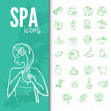 Spa & beauty doodle icons set Royalty Free Stock Images