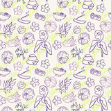 Spa and  beauty doodle seamless pattern Royalty Free Stock Photo