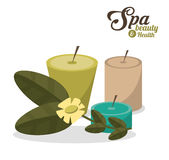 Spa beauty health aroma candles with flower Royalty Free Stock Photography