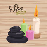 Spa beauty and health three candles and stone wooden background Stock Photos