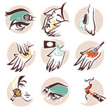 Spa and beauty icons. Spa, beauty and cosmetic, vector emblems collection Stock Image