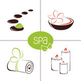 SPA and beauty icons. Set of icons and emblems for SPA and ayurveda therapy, beauty treatment and wellness Royalty Free Stock Photo