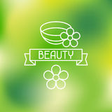 Spa beauty label on blurred background Royalty Free Stock Photos
