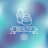 Spa beauty label on blurred background Stock Images