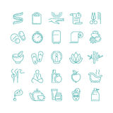 Spa and Beauty line vector icons set Stock Photos