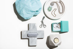 Spa and beauty pamerpring flat lay collection of objects Stock Images