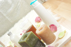 Spa beauty products. Spa beauty natural products on wood royalty free stock images