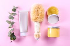Spa beauty products with palm fiber dry body brush for scrubbing, peeling and massage. Beauty blogger, spa and wellness center. Concept. Top view, close up, cop royalty free stock photos