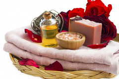 Spa beauty roses products with natural soap, massage oil, salt, Stock Photos