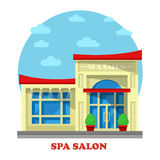 Spa or beauty salon or parlor, parlour building. Construction for massage and peeling, pedicure or chiropody, manicure and face cleaning, body waxing for women Stock Images