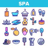 Spa Beauty Service Linear Vector Icons Set royalty free illustration