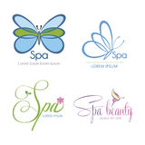 Spa and beauty. Set of backgrounds with text and spa icons. Vector illustration Royalty Free Stock Photography