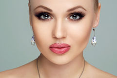 Spa, beauty, skin care, fitness and health. Glamour closeup portrait of beautiful female model face with healthy clean Stock Photography