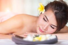 Spa beauty skin treatment woman on white towel. Gorgeous beautif Stock Image