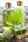 SPA beauty treatment products. SPA and body care products royalty free stock image
