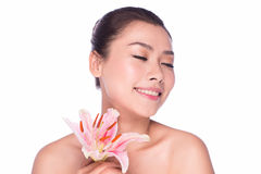 SPA beauty woman with flower Stock Photos